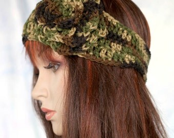 Camo Headband Earwarmer with Coordinating Rosette Flower - Warm Camo Green Warm Cozy Ear Warmer with Matching Flower