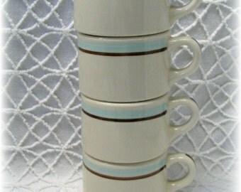 4 Retro Shenango Rim Rol Restaurant Ware Coffee Cup Mugs Aqua Brown