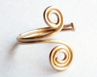 Adjustable Swirl Gold Toe Ring - Gold Plated Wire - Gold Toe Ring - Hammered Wire Toe Ring