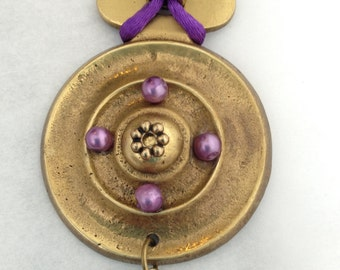 Antique HARDWARE JEWELRY  Pendant Necklace ,Purple Silk Cord, Beads n Brass Necklace, Adjustable Necklace, OOAK, Mothers Day, Gifting, Boho