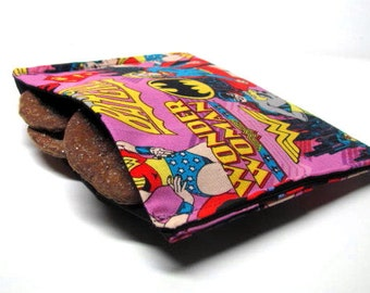 Reusable Sandwich Bag, Eco Friendly Lunch Bag, Super Heros, Super Girl, Wonder Woman, Back to School