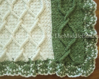 Sylvia Cabled Afghan with Lace Ruffle PDF Pattern