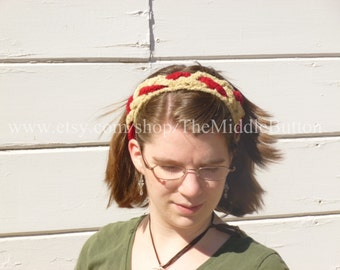 The Janet - Braided Headband - In Scarlet and Tan