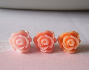 Rose Stud Earrings Flower Post Earrings Cabbage Roses Studs