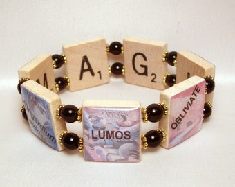 HARRY POTTER Bracelet / Magic Spells / SCRABBLE / Handmade Jewelry / Book Lover / Upcycled