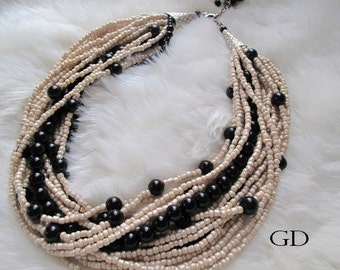 Bold Bridal Wedding , Handmade necklace, chunky layered black pearl necklace, ivory seed bead, precious necklace.