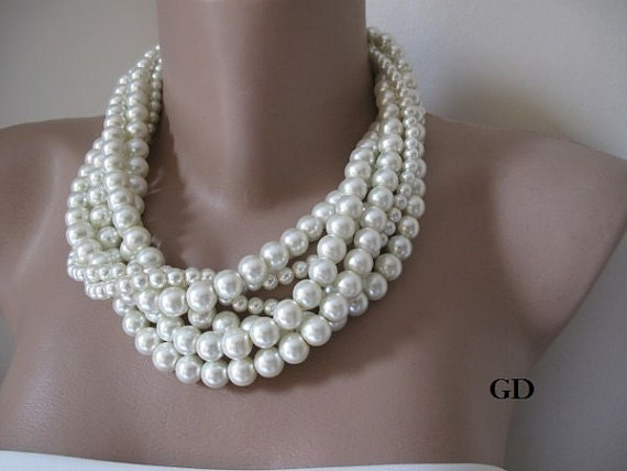 Pearl necklace, Bold Bridal, chunky layered necklace,, ivory necklace, Handmade Wedding, bride, bridesmaids.