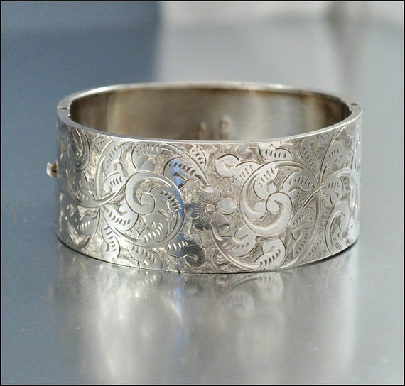 Sterling Silver Bangle Bracelet Antique Jewelry Victorian