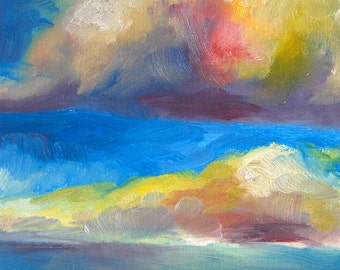 "Oil Painting, Original, Cloudscape, 8""x10"""