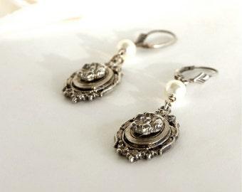 Bridal Earrings, Cameo Earrings, Silver Cameo, Wedding Earrings, Flower Cameo Pearl Earrings, Flower and Pearl Earrings, Flower Cameo