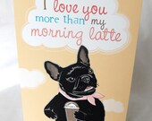 Latte Frenchie Greeting Card
