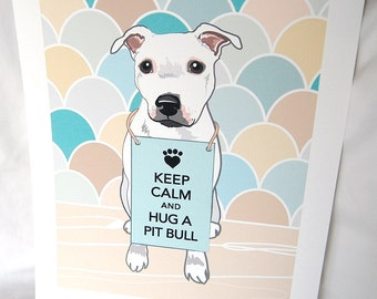 Keep Calm Pit Bull with Scaled Background - 7x9 Eco-friendly Print