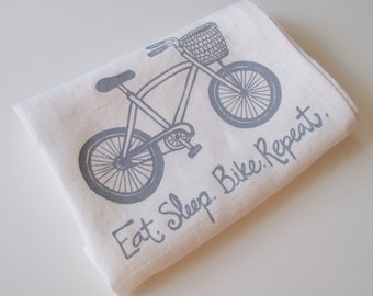 Linen Tea Towel - Bicycle - Eat.Sleep.Bike. Repeat - Choose your fabric and ink color