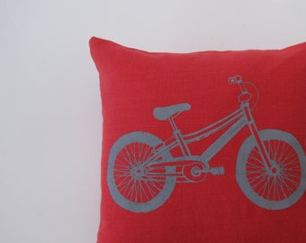 Pillow Cover - Cushion Cover - Mountain Bike - 12 x 12  inches - Choose your fabric and ink color
