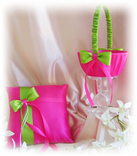 Hot Pink and Green Wedding Flower Girl Basket and Ring Bearer Pillow, Spring and Summer Wedding