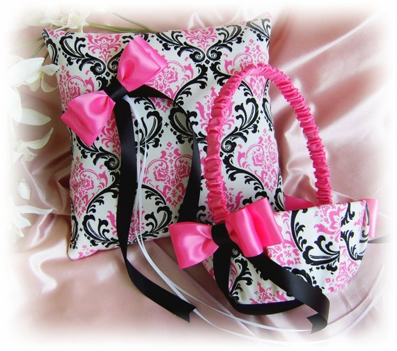 Madison Damask Wedding Ring Pillow and Basket, Hot Pink Black Damask Wedding Decorations Ceremony