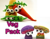 Veg Pattern Pack with Carrot, Squash, Peas, and Mushroom Amigurumi Plush Toy Digital Download PDF Pattern