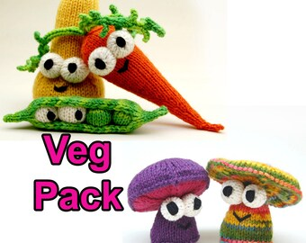 Veg Pattern Pack with Carrot, Squash, Peas, and Mushroom Amigurumi Plush Toy Digital Download PDF Pattern