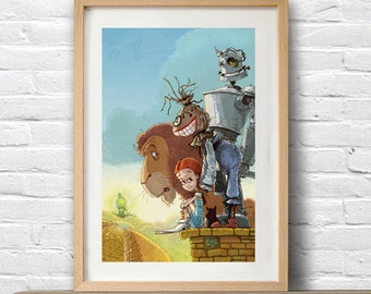 Wizard of Oz poster |  wizard of oz Christmas gift | small wall art print|  wizard of oz characters print | gift for kids | wizard of oz