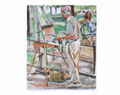 Artist and Model Watercolor Print of Painting Figurative summer pastel art Gwen Meyerson