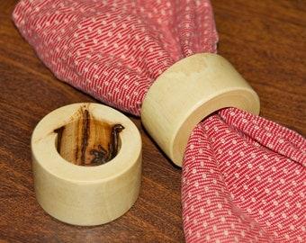 Napkin ring set - Hickory wood - 2 pc.set