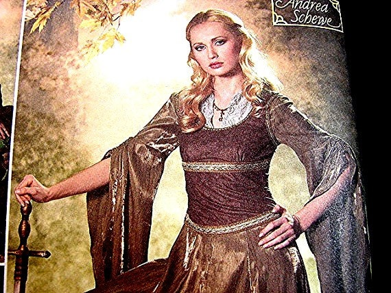 Historical Womens Medieval Renaissance Costume Gown Dress Pattern Simplicity Costume Pattern Misses Adult size 10 12 14 16 18 UNCUT