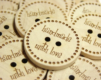 "1"" Wooden Buttons ""hand with love"" - Set of  10"