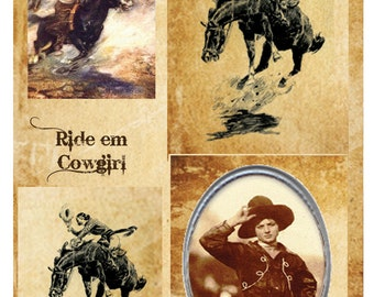 Altered Art Papers, 3x4in sheets - Cowgirls, 24 sheets, art graphics, N3110