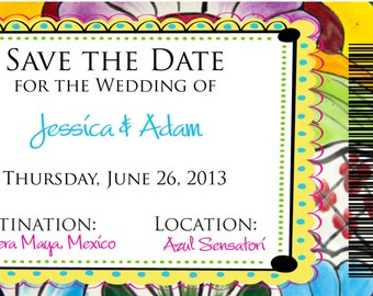 DEPOSIT: Mexican Tile Magnet Boarding Pass Save the Date
