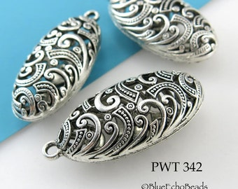 44mm Large Hollow Pewter Pendant Oval Focal Bead (PWT 342) 1 pc BlueEchoBeads