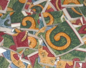 Colorful Abstract Design Mosaic Tiles cut from plates M10