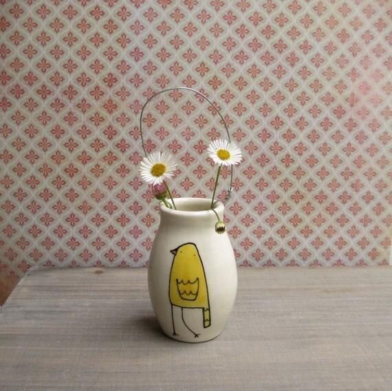 Yellow bird vase, hanging wall flower vase, summer baby nursery decor