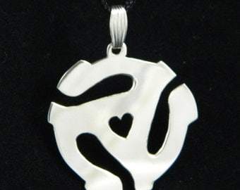 Record Adapter for 45 Sterling Silver Pendant with Heart