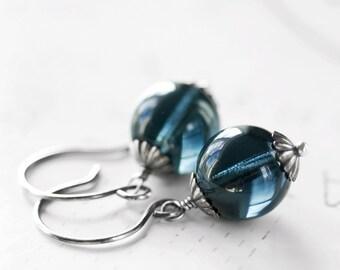 After the Storm Earrings Montana Blue Glass Sterling Silver Earrings Clear Denim Blue
