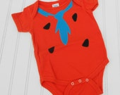 READY TO SHIP Great Costume / Baby Shower Gift Fred Flintstone bodysuit - Orange 100% cotton sewn applique for boys