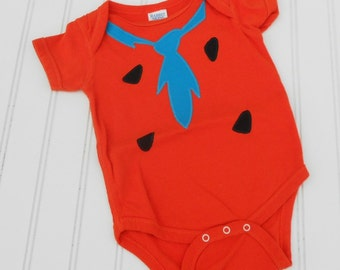 READY TO SHIP Great Costume / Baby Shower Gift Fred Flintstone bodysuit - Orange 100% cotton sewn applique for boys or girls