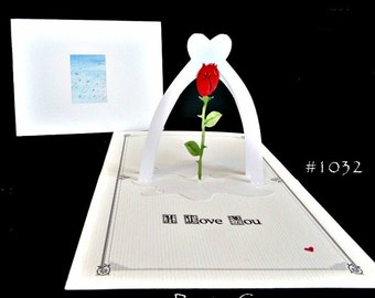 Rose Pop-Up Card with Heart 180 degrees -ITEM 1032