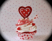 """Valentines Day Home Decor Fake Cupcake Retro Inspired """"Happy Valentine Cupcake"""" with Heart Cupcake Liner Fab V-Day Gift"""