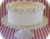 "Fake Cake ""Heavenly Cakes"" Collection White Single Layer Cake Retro Cookbook Inspired White Cake 12 Legs Design"