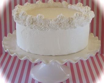 "Fake Cake ""Heavenly Cakes"" Collection White Single Layer Cake Retro Cookbook Inspired White Cake 12 Legs Design"