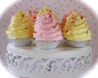 "Fake Cupcakes Set 6 Mini Magical Cupcakes ""Fairy Godmother Collection"" Lemon Chiffon & Strawberry 12 Legs Original"