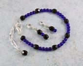 Points Tracker Calorie Calculator Counting Beadwork Bracelet Cobalt Blue Black Crystals - TinksTreasure