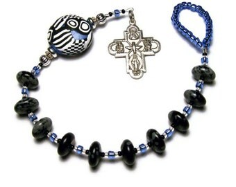 Catholic One Decade Rosary Chaplet Tenner Handmade Focal Bead Pewter First Family Four-way Cross Under 25 Dollars Glass Hail Mary Beads