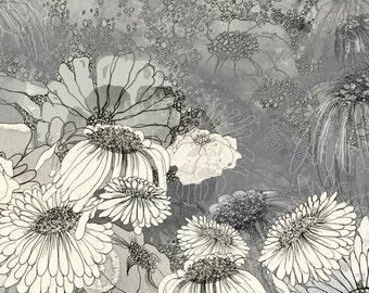 At Night in Iza's Garden III - floral illustration