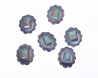 6 Navajo Button Concho Ornaments - 20s/30s Sterling Hand Stamped - Pilot Mountain Turquoise - Set of 6