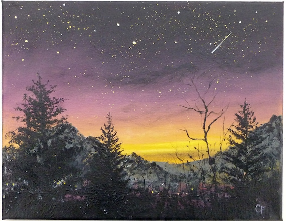 Night sky stars and sunset landscape painting 11x14