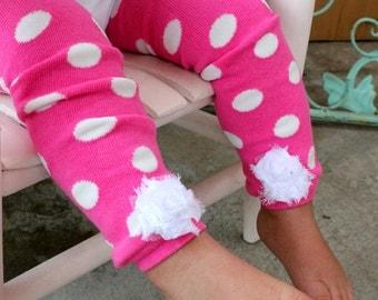 Pink Polka Dot Baby Girl LEG WARMERS Newborn - 12 Months & Toddler 12 Months -5T