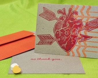 NO Thank You Anatomical Heart letterpress card