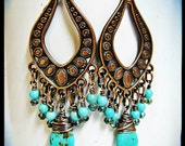 Long Exotic Turquoise Magnesite and Antique Copper Chandelier Earrings