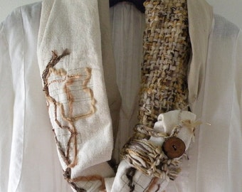 Wearable art scarf, women's knit crochet handwoven woven multicolor indie fashion, rustic alpaca wool off white ivory brown tan chunky i356